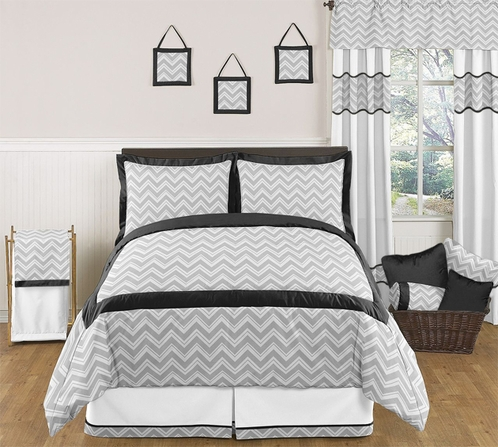 black and gray chevron zig zag childrens kids teen. Black Bedroom Furniture Sets. Home Design Ideas