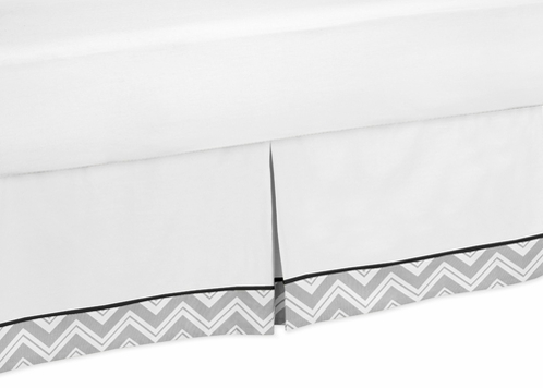 Black and Gray Chevron Zig Zag Queen Bed Skirt for Childrens Teens Bedding Sets by Sweet Jojo Designs - Click to enlarge