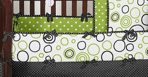 Black and Lime Bubbles Baby Crib Bumper Pad - Click to enlarge