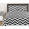Black and White Chevron 3pc Childrens and Teen Zig Zag Full / Queen Bedding Set Collection