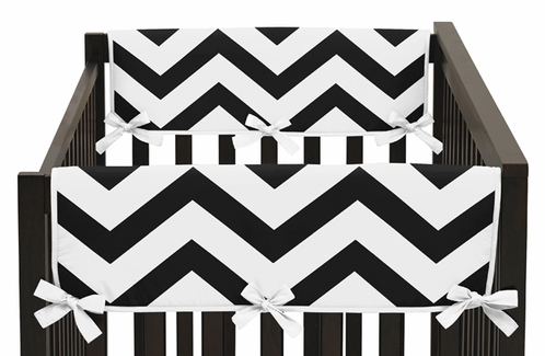 Black and White Chevron Baby Crib Side Rail Guard Covers by Sweet Jojo Designs - Set of 2 - Click to enlarge