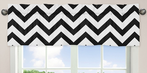 Black and White Chevron�Collection Zig Zag Window Valance - Click to enlarge