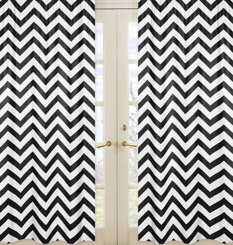 Black and White Chevron Window Treatment Zig Zag Panels - Set of 2 - Click to enlarge