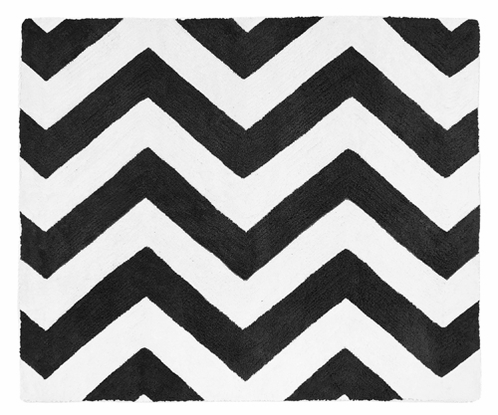 Black and White Chevron Zig Zag Accent Floor Rug by Sweet Jojo Designs - Click to enlarge