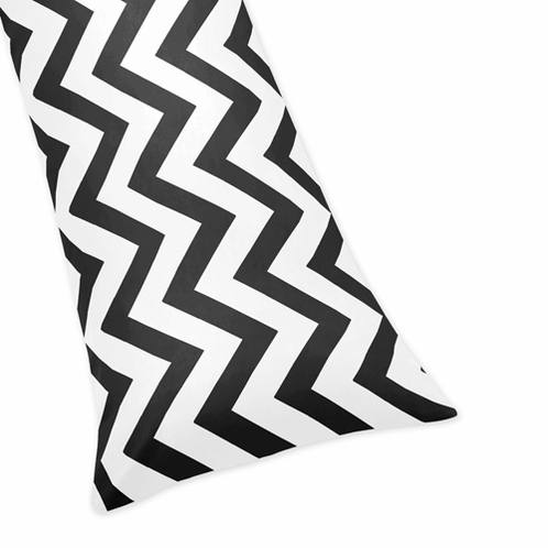 Black and White Chevron Zig Zag Full Length Double Zippered Body Pillow Case Cover - Click to enlarge