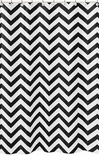 Black and White Chevron Zig Zag Kids Bathroom Fabric Bath Shower Curtain - Click to enlarge
