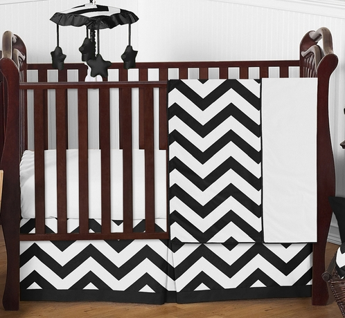Black and White Chevron ZigZag Baby Bedding - 4pc Crib Set by Sweet Jojo Designs - Click to enlarge