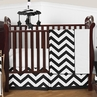Black and White Chevron ZigZag Baby Bedding - 4pc Crib Set by Sweet Jojo Designs