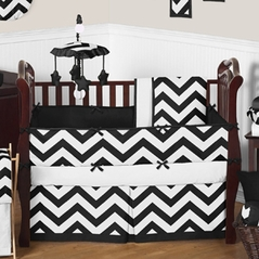 Black And White Chevron Zigzag Baby Bedding 9pc Crib Set By Sweet Jojo Designs