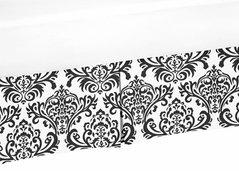 Black and White Damask Crib Bed Skirt for Isabella Baby Bedding Sets by Sweet Jojo Designs