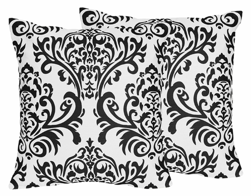 Black and White Damask Sloane Decorative Accent Throw Pillows - Set of 2 - Click to enlarge