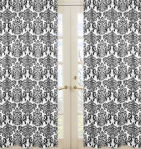 Black and White Damask Window Treatment Panels for Sloane Collection - Set of 2 - Click to enlarge