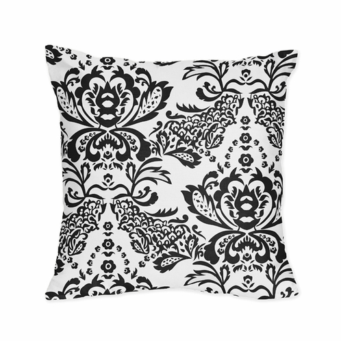 Black and White Floral Damask Decorative Accent Throw Pillow - Click to enlarge