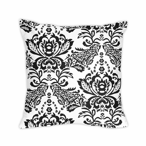 Black and White Floral Damask Throw Pillow - Click to enlarge