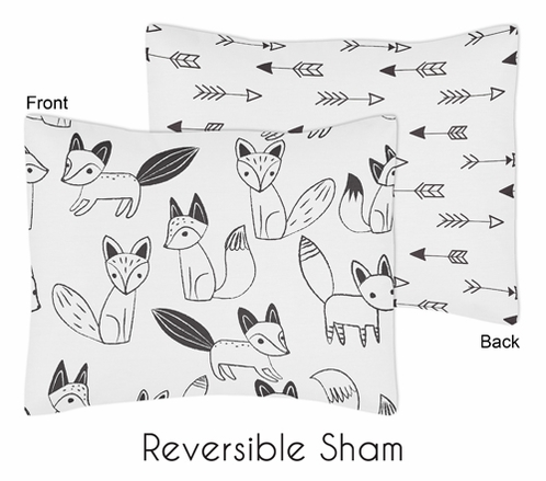 Pillow Sham for Sweet Jojo Designs Black and White Fox and Arrow Collection - Click to enlarge