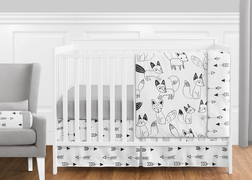 black and white fox and arrow baby bedding 11pc boys crib set by sweet jojo designs only. Black Bedroom Furniture Sets. Home Design Ideas