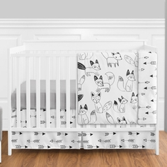 Black and White Fox and Arrow Baby Bedding - 4pc Boys Crib Set by Sweet Jojo Designs