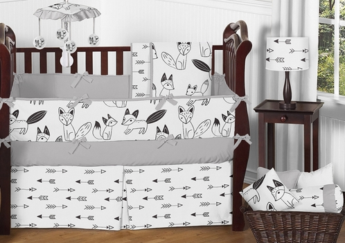 black and white fox and arrow baby bedding 9pc crib set by sweet jojo designs only. Black Bedroom Furniture Sets. Home Design Ideas
