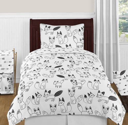 Black and White Fox and Arrow 4pc Twin Boy or Girl Bedding Set by Sweet Jojo Designs - Click to enlarge