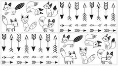 Black and White Fox Collection Baby, Childrens and Kids Wall Decal Stickers by Sweet Jojo Designs - Set of 4 Sheets