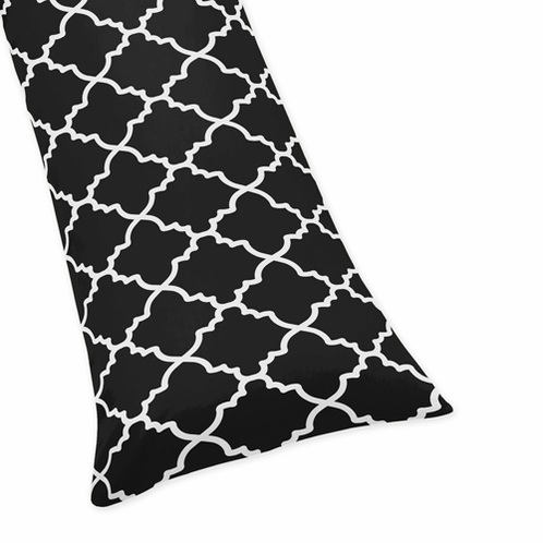 Black and White Full Length Double Zippered Body Pillow Case Cover for Sweet Jojo Designs Trellis Sets - Click to enlarge