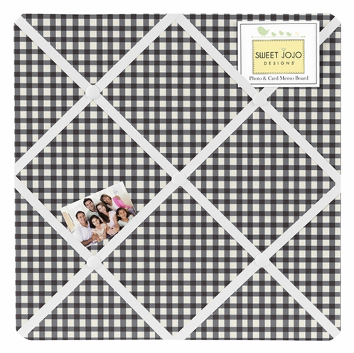 Black and White Gingham Fabric Memory/Memo Photo Bulletin Board for Ladybug Collection by Sweet Jojo Designs - Click to enlarge