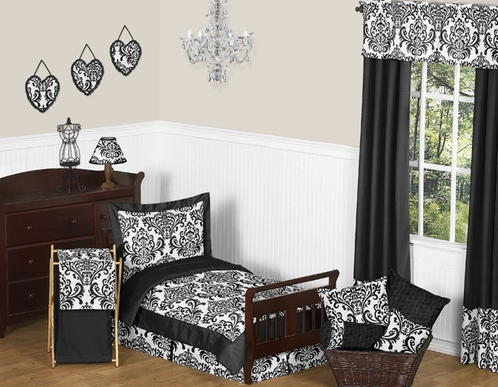 Black and White Isabella Girls Toddler Bedding - 5pc Set - Click to enlarge