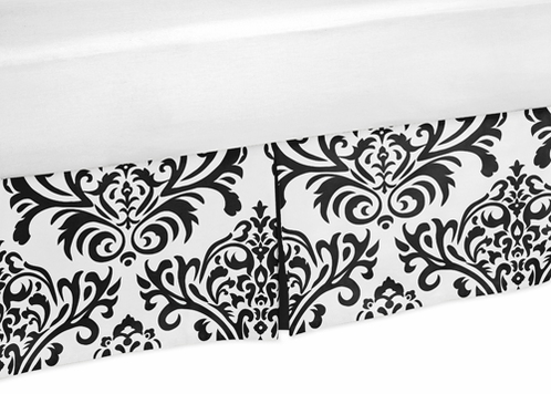 Black and White Isabella Bed Skirt for Toddler Bedding Sets by Sweet Jojo Designs - Click to enlarge