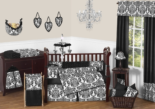 Black and White Isabella Girls Baby Bedding - 9 pc Crib Set - Click to enlarge