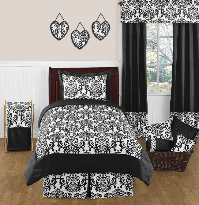 Black and white isabella girls childrens and teen bedding 4 pc twin set only 119 99
