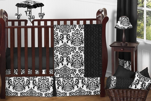 Black and White Isabella Girls Baby Bedding - 11pc Crib Set - Click to enlarge