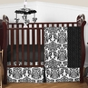 Black and White Isabella Girls Baby Bedding - 4pc Crib Set