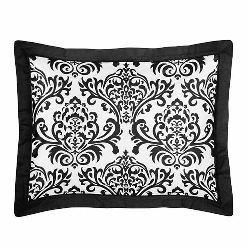 Black and White Isabella Pillow Sham by Sweet Jojo Designs - Click to enlarge