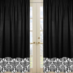 Black and White Isabella Window Treatment Panels - Set of 2