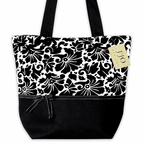 Black and White Jacquard Handbag (Great for Diaper Bag, Tote Bag, Purse or Beach Bag) - Click to enlarge