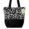 Black and White Jacquard Handbag (Great for Diaper Bag, Tote Bag, Purse or Beach Bag)