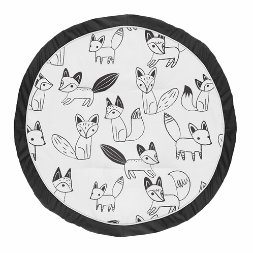 Playmat Tummy Time Baby and Infant Play Mat for Black and White Fox Collection by Sweet Jojo Designs - Click to enlarge