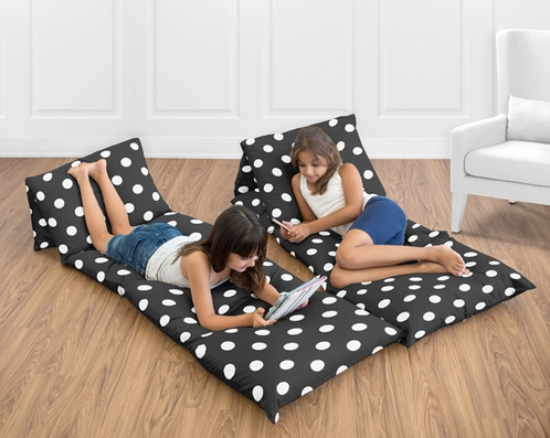 Black and White Polka Dot Kids Teen Floor Pillow Case Lounger Cushion Cover by Sweet Jojo Designs - Click to enlarge