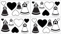 Black and White Princess Baby and Kids Wall Decal Stickers - Set of 4 Sheets