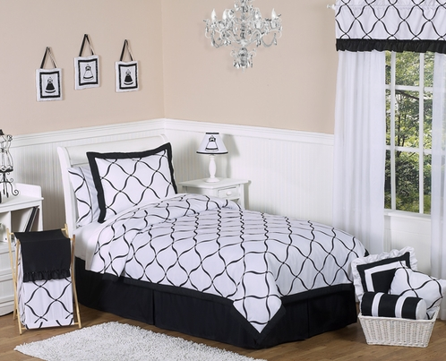 Black and White Princess Kids and Childrens Bedding - 4 pc Twin Set - Click to enlarge