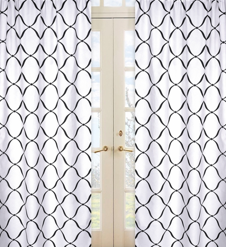 Black and White Princess Window Treatment Panels - Set of 2 - Click to enlarge