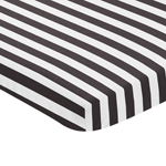 Black and White Stripe Baby Fitted Mini Portable Crib Sheet for Paris Collection by Sweet Jojo Designs