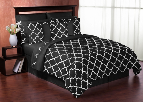 Black and White Trellis 3pc Full / Queen Bedding Set by Sweet Jojo Designs - Click to enlarge