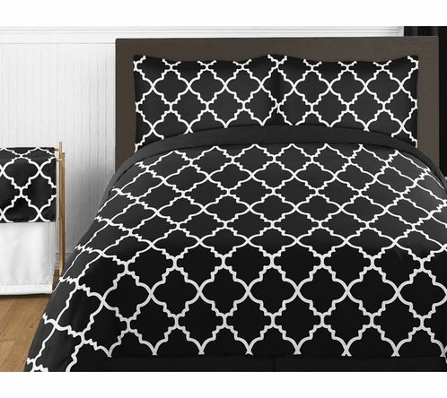 Black and White Trellis 4pc Childrens and Kids Twin Bedding Set by Sweet Jojo Designs - Click to enlarge