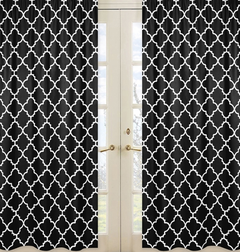 Black and White Trellis Collection Lattice Window Treatment Panels - Set of 2 - Click to enlarge