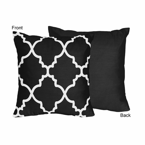 Black and White Trellis Decorative Accent Throw Pillow by Sweet Jojo Designs - Click to enlarge