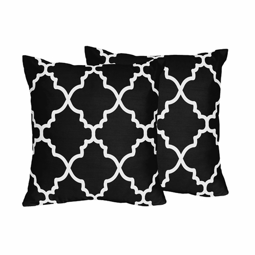 Black and White Trellis Decorative Accent Throw Pillows - Set of 2 - Click to enlarge