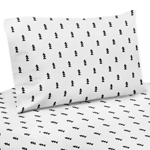 Black and White Triangle Tree Queen Sheet Set for Bear Mountain Watercolor Collection by Sweet Jojo Designs - 4 piece set