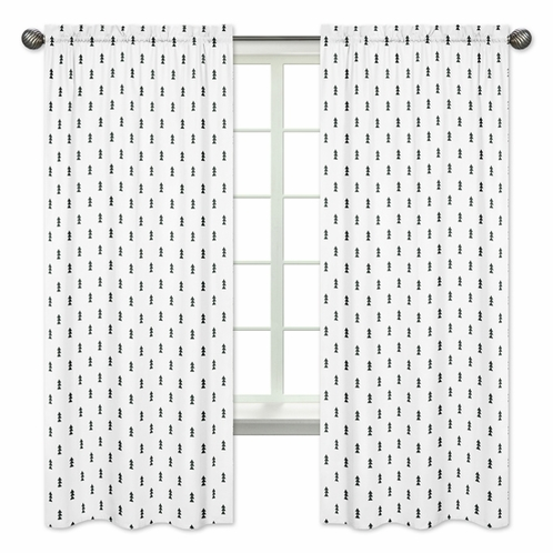Black and White Triangle Tree Window Treatment Panels Curtains for Bear Mountain Watercolor Collection by Sweet Jojo Designs - Set of 2 - Click to enlarge
