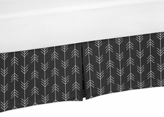 Black and White Woodland Arrow Baby Boy Pleated Crib Bed Skirt Dust Ruffle for Rustic Patch Collection by Sweet Jojo Designs